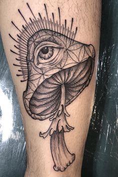 Dope Tattoos, Spooky Tattoos, Leg Tattoos, Body Art Tattoos, Sleeve Tattoos, Tattoos For Guys, Hippie Tattoo, Psychedelic Tattoos, Mushroom Tattoos