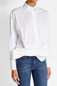 Cotton Shirt with Bow - Victoria, Victoria Beckham   WOMEN   GB STYLEBOP.com
