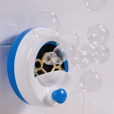 Enjoy bubbles in the bath, without having a bubble bath!  Can be operated by a child as well as parents. Has a tear-free bubble solution included. Suction cup securely adheres bubble maker to the wall. Required 4AA batteries, not included. Please allow 1-2 weeks for shipping.