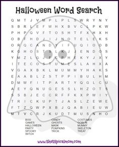 Halloween word search printable pages you can give your kids or students! LOTS of free Halloween printable pages here.