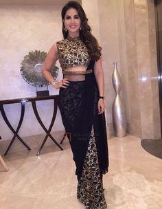 looking gorgeous in black half & half saree