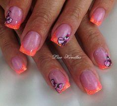 Pink with Neon Coral tips and hand painted pink bows gel enhancement. #bows #pinkandwhites #frenchnails #gelnails #nailart #handpaintednails #naildesign #nails #lisakorallus #liquidglamour #nailpictures  #lisasaltiel #lisamariesaltiel