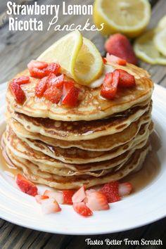 Strawberry Lemon Ricotta Pancakes : Tastes Better From Scratch