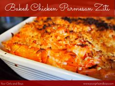 Baked Chicken Parmesan Ziti - such a good and easy meal! Starts in the crockpot and finishes in the oven.