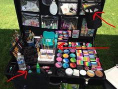 Craft-n-Go Face Painting Table Face Painting Designs, Painting Patterns, Body Painting, Face Paint Set, Makeup Artist Kit, Makeup Supplies, Table Set Up, Pictures To Paint, Painting For Kids