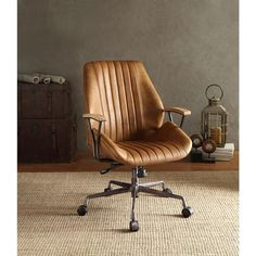 Hamilton Top Grain Leather Office Chair in Coffee Leather #OfficeChair