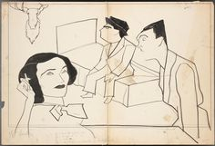 "1935 William Auerbach-Levy drawing of Joyce Arling as Audrey Trowbridge, Teddy Hart as Frankie and #SamLevene as Patsy from original Broadway production of ""Three Men on a Horse""."