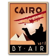 Retro Egypt travel advertising art deco Postcard (our work, inspired by a vintage travel poster) Also available in several poster sizes.
