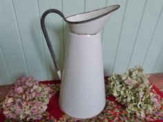 Large french enamel water pitcher, water jug, vintage enamel ewer, french brocante, shabby chic enamel jug, white enamel, country chic by NansCottageVintage on Etsy
