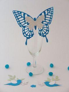 Marque place papillon en dentelle de couleur bleu turquoise à personnaliser : Cuisine et service de table par magic-events