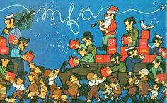 """João Abel Manta.  """"Os presentes das Forças Armadas"""" (""""Los regalos de las Fuerzas Armadas""""), Navidad de 1974, la primera después de la caída de la dictadura."""
