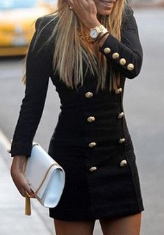 Black Plain Round Neck Double Breasted Long Sleeve Dress