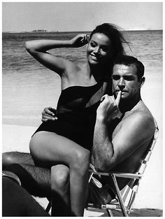 """Claudine Auger: """"Is that a Walther PPK in your pants or are you just glad to see me?"""" Sean Connery: """"The name is Bond . Oh yes, of course. The name is Bond, James Bond. James Bond Girls, James Bond Movies, Sean Connery James Bond, Shawn Connery, Sean Connery Young, I Movie, Movie Stars, Claudine Auger, Gena Rowlands"""
