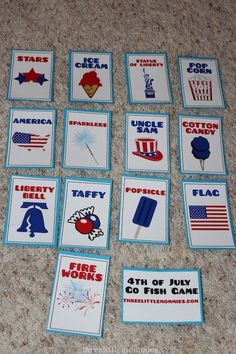 4th of July free printable game - make these into yoga poses, pass out cards to kids