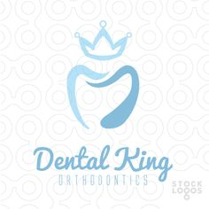 Logo represents abstract teeth shape with king's crown above them. Keywords: teeth, tooth, tooth brush, hygienist, medicine, medical, oral, care, health, dental, dentist, dental care, orthodontics, smile, gums.
