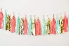 Set of 15 Mixed Mint Coral Gold Party Tissue Paper Tassels Garland Wedding Banner Bunting Baby Shower Party Hanging Decoration