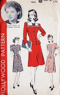 "1940s Two Piece Dress Vintage Sewing Pattern Hollywood 1041 Featuring Evelyn Keyes bust 30"" uncut"