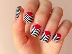 #Stripes nail art idea . I  would like the red with just one nail chevron !