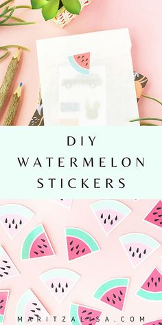 DIY Stickers - This tutorial will show you how to make your own homemade adorable watermelon stickers. These stickers are ideal for decorating your planners journals envelopes and packages! Diy Projects For Beginners, Diy Craft Projects, Diy Crafts For Kids, Easy Crafts, Handmade Crafts, Craft Ideas, Good Tutorials, Cricut Tutorials, Diy Stickers