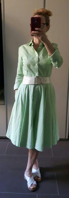 Summer Look, Stripes, Green, White, 50ies, Ralph Lauren Dress, Vintage Dress Vintage, Summer Looks, Ralph Lauren, Stripes, Victorian, Shirt Dress, Green, Shirts, Dresses