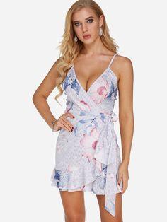 8b654a30db Light Blue Self-tie Design Random Floral Print V-neck Spaghetti Strap Dress   21.95