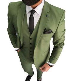 Green Wedding Tuxedos Groom Suits For Men Business Party Prom 2021 Men (Jacket +Vest+Pants+Tie ) Dinner Date Green Suit Men, Olive Green Suit, Green Wedding Suit, Wedding Suits, Wedding Tuxedos, Formal Wedding, Wedding Groom, Dress Wedding, Groomsmen Suits