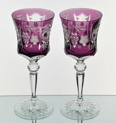Ajka Marsala Amethyst Purple Cut to Clear Crystal Wine Goblet Glass Pair New
