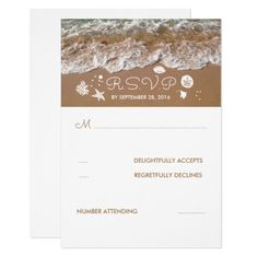 #wedding #responsecards - #Beach Sandy Waves Summer Wedding RSVP Card