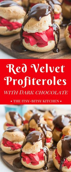 Crisp bites of pastry filled with sweet whipped cream topped with dark chocolate make these red velvet profiteroles with dark chocolate glaze an irresistible dessert. And they're easier to make than you'd think! Healthy Dessert Recipes, Easy Desserts, Delicious Desserts, Chocolate Glaze, Chocolate Desserts, Chocolate Heaven, Velvet Cake, Red Velvet, Sweet Whipped Cream