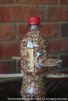 Such a simple way to create a bird feeder, using an empty soda bottle and wooden spoons!