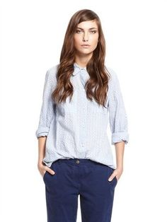 pureDKNY Clover Chambray Stripe Button Thru Shirt With Chest Pockets And Transformers DKNY