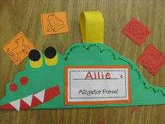 """A is for Alligator Purse! I also love her idea for """"realia"""" alphabet poster where kids bring in small items to place in ziplocks beside their letter. Abc Crafts, Alphabet Crafts, Letter A Crafts, Book Crafts, Preschool Crafts, Crafts For Kids, Rhyming Activities, Book Activities, Activity Ideas"""