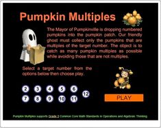 Pumpkin Multiples supports Grade 3 Common Core Math Standards in Operations and Algebraic Thinking. Halloween Activities, Holiday Activities, Writing Activities, Classroom Activities, Classroom Ideas, Grade 6 Math, Grade 3, Fourth Grade, Math Websites