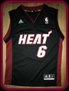 1696f68f9 Details about Miami Heat LeBron James  6 Away Jersey Adidas NBA Basketball  Black Youth XL -EUC