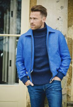 One of our bespoke bomber jackets in a glorious wool and linen mix fabric Bespoke Clothing, Bespoke Suit, Bomber Jackets, Men Sweater, Suits, Wool, Zip, Fabric, Sweaters