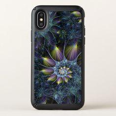Blue Purple Nautilus Spiral Floral Fractal Pattern Speck iPhone X Case - artists unique special customize presents