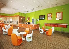Orange Leaf Frozen Yogurt store inside:
