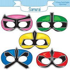 Ranger Samurai Masks, Printable Mask, Paper Mask, Power Rangers Inspired