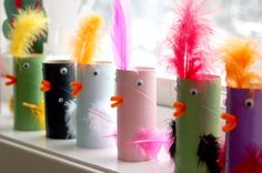 Birds from finished toilet rolls :-)