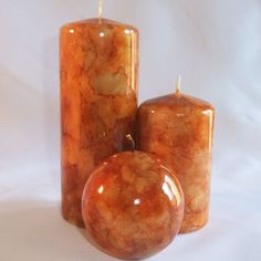 Burnt orange coloured Pillar candle set - www.justcandles.co.uk