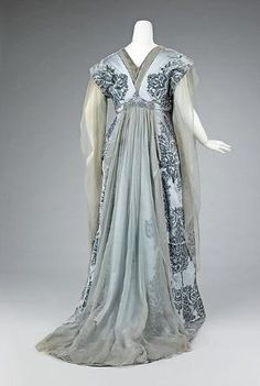 Tea gown - Tea gown Design House: House of Worth (French, 1858–1956) Designer: Attributed to Jean-Philippe Worth (French, 1856–1926) Designer: Attributed to Jean-Charles Worth (French, 1881–1962) Date: ca. 1910 Culture: French Medium: silk, rhinestones, metal Dimensions: Length at CB: 68 in. (172.7 cm) Credit Line: Brooklyn Museum Costume Collection at The Metropolitan Museum of Art, Gift of the Brooklyn Museum, 2009; Gift of Mrs. Paul Pennoyer, 1965 by Wirth, L