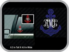 striped anchor monogram decal car decal, round anchor monogram, anchor sticker