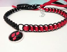 Harley Quinn Inspired Necklace and Pendant, Ribbon Maille Choker Necklace,  Red and Black Necklace