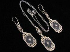 14K EDWARDIAN FILIGREE CAMPHOR GLASS DIAMOND SET - Antique Jewelry ...