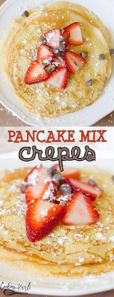 Easy Pancake Mix Crepes - Cooking With K. - Easy Pancake Mix Crepes are thin and irresistible! Made from pancake mix, milk, an egg and vanilla; Crepe Recipe With Pancake Mix, Crepes With Pancake Mix, Easy Pancake Mix, Breakfast Crepes, Egg Recipes For Breakfast, Pancakes Easy, Best Breakfast, Vanilla Pancakes, Pancake Recipes