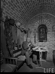 Carl Jung reading in the Tower at Bollingen, ca. Bollingen Foundation Collection, Manuscript Division, Library of Congress