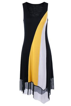 $13.47 U Neck Tulle Trim Asymmetrical Midi Dress - Yellow And Black
