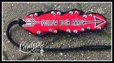 """custom saddle feather """"Follow your Arrow"""""""