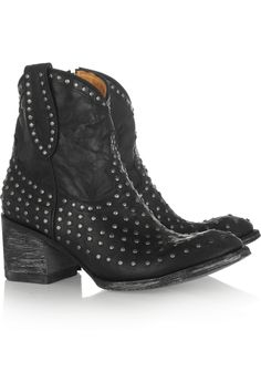 Mexicana|Laguna studded distressed leather ankle boots|NET-A-PORTER.COM