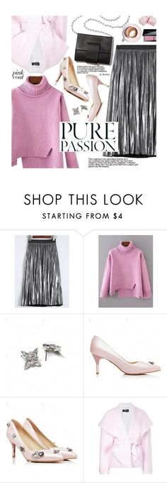 """""""Hey, Girl: Pretty Pink Coats"""" by beebeely-look ❤ liked on Polyvore featuring MM6 Maison Margiela, Balmain, Bobbi Brown Cosmetics, pleatedskirts, StreetChic, pinkcoats, wintersweater and twinkledeals"""